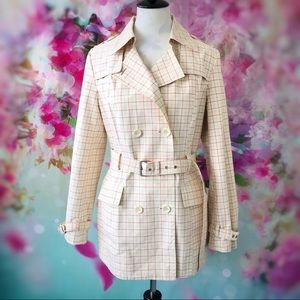 🆕 Express-Pink & Cream Plaid Belted Trench Coat